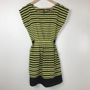 Dresses - Lime Green and Black Striped Dress